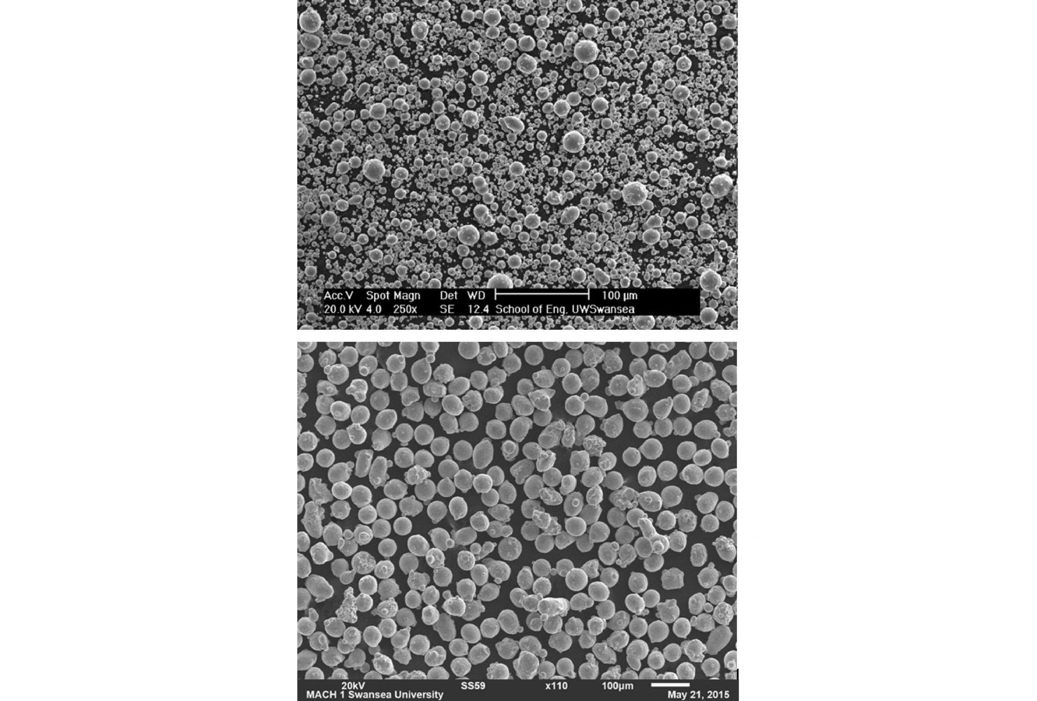 SEM images of Sandvik's Osprey gas-atomized metal powders. Top - Stainless steel powder for MIM. Bottom - refined, more uniform stainless steel for additive manufacturing certification. Images via Sandvik Osprey