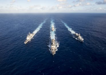U.S. and Japanese naval ships in MultiSail exercise in the Philippine Sea (U.S. Navy photo by Mass Communication Specialist 3rd Class Sarah Myers/Released)