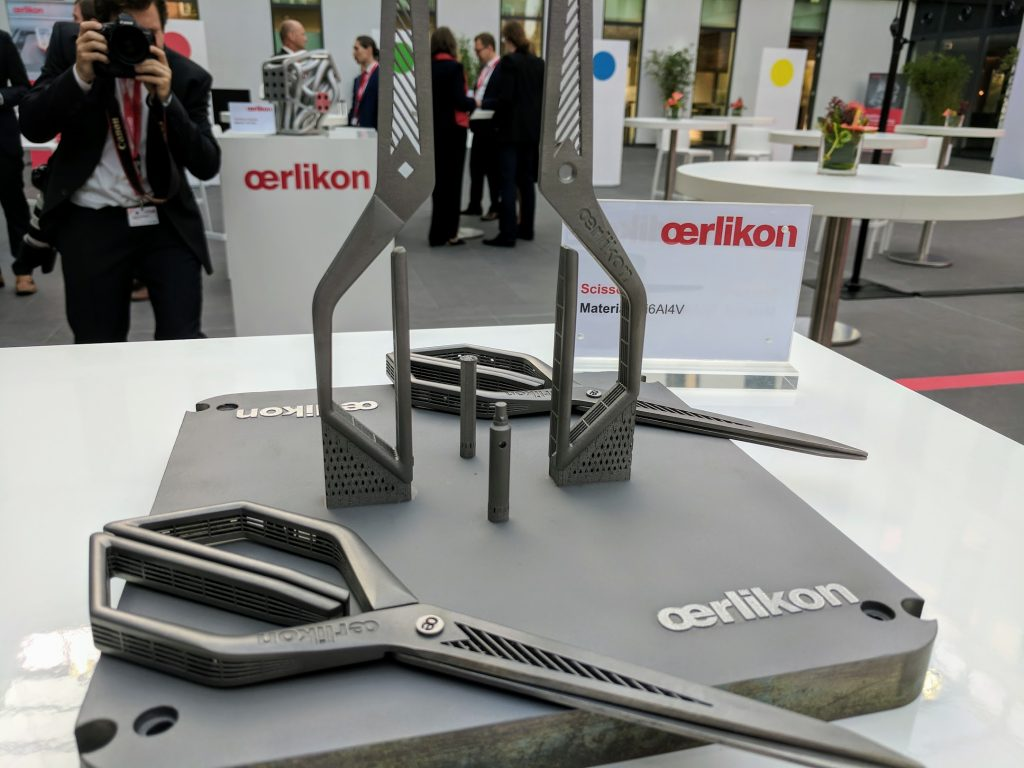 3D printed titanium scissors at Oerlikon's Feldkirchen AM facility. Photo by Michael Petch.