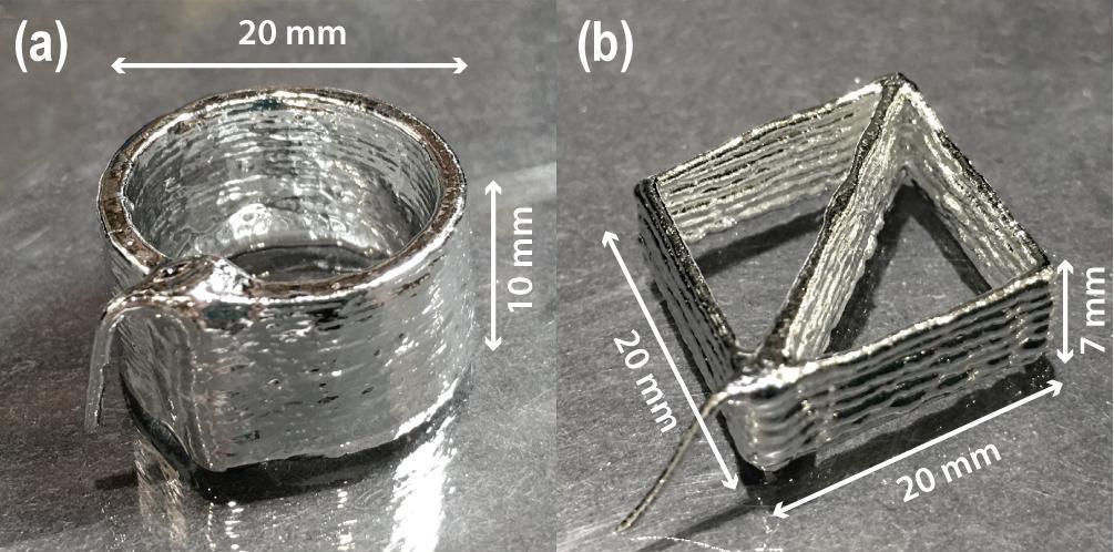 3D printed tests of OSU's lquid metal paste. Image viaAdvanced Materials Technologies.