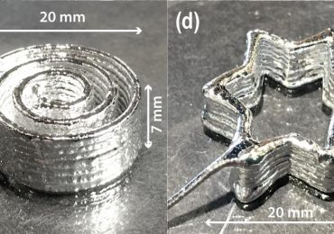3D printed tests of OSU's lquid metal paste. Image via Advanced Materials Technologies.