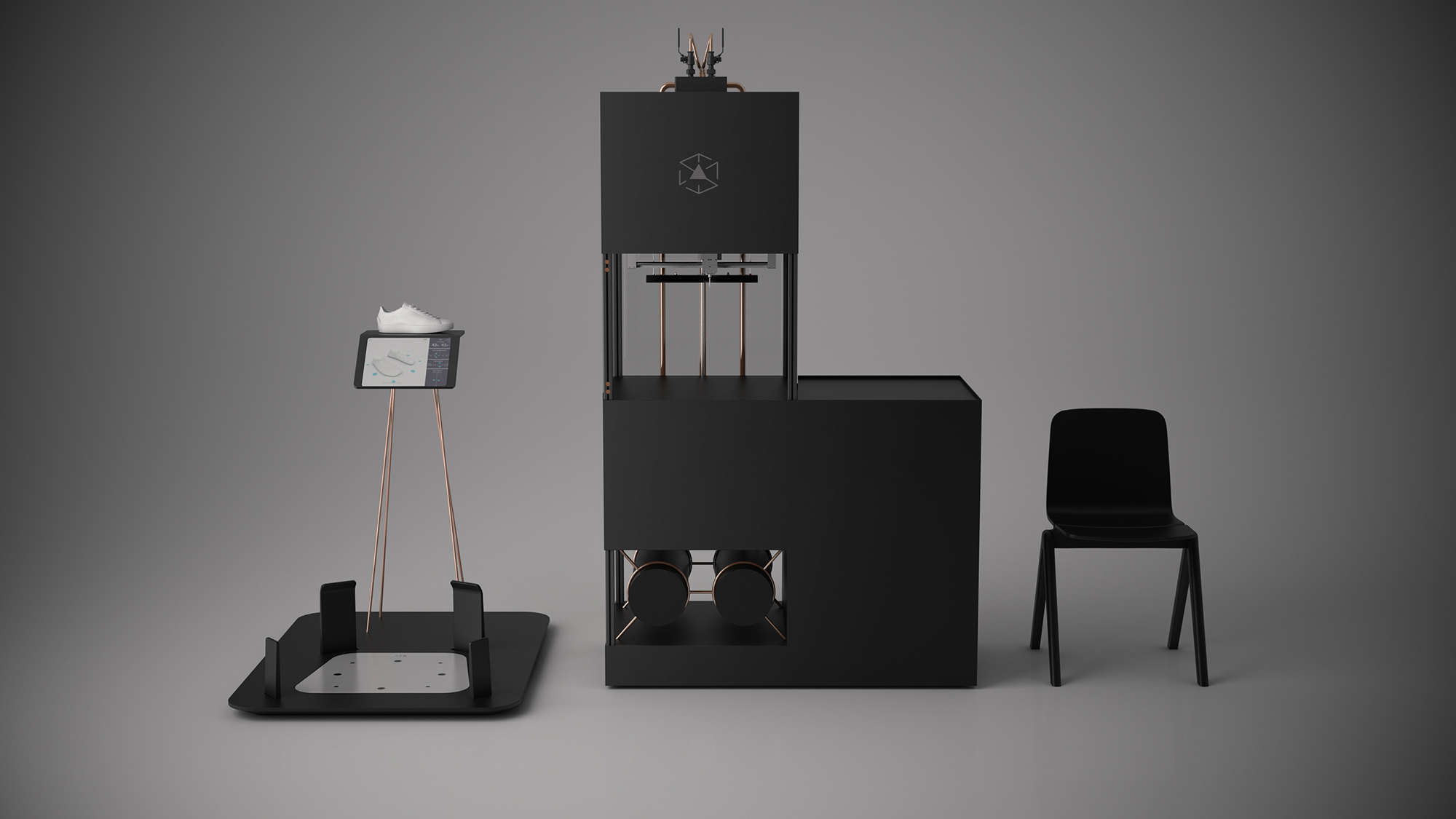 A render of the 3D scanning station and German RepRap modified 3D printer. Image via Ecco.