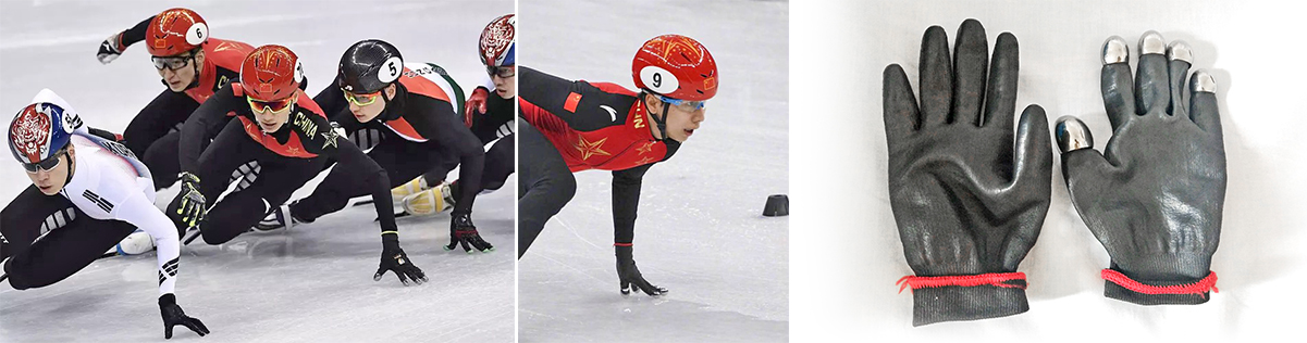 Chinese skaters wearing metal 3D printed glove tips, customised by Farsoon Technolgies. Photo via Farsoon Technologies.