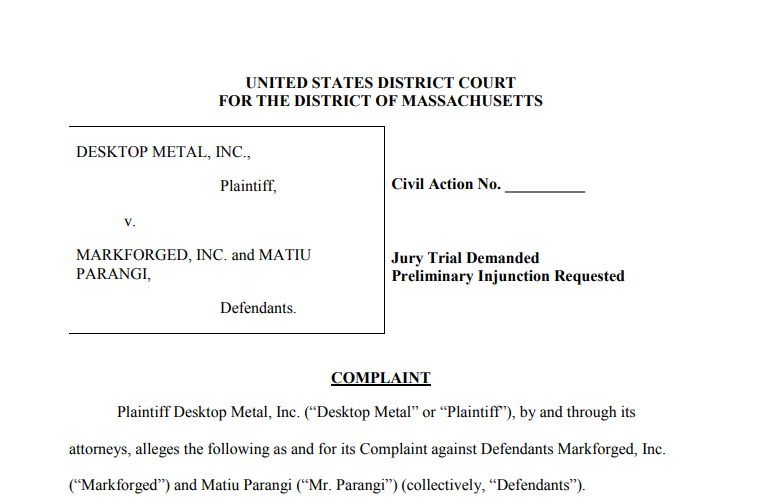 Screengrab of the civil Case Filing made by Desktop Metal against Markforged in the district of Massachusetts. Image via Law360
