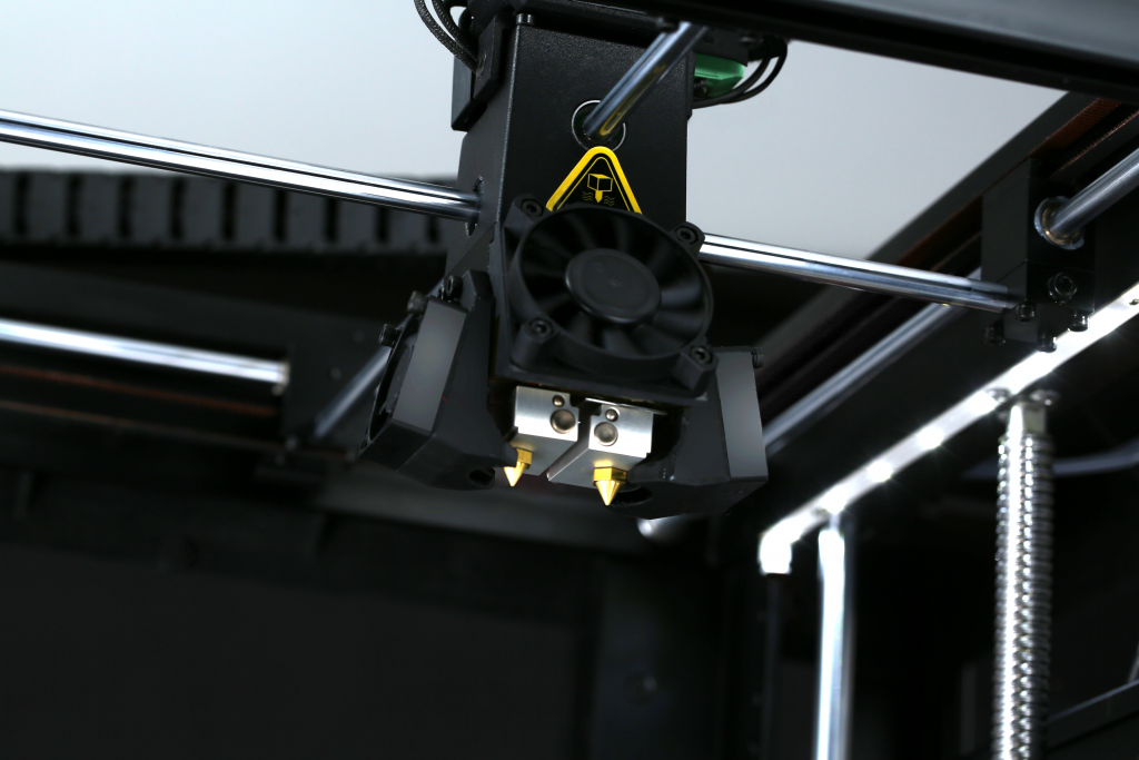 Dual Extruder on the Raise3D Pro2 3D printer series. Photo via Raise3D.