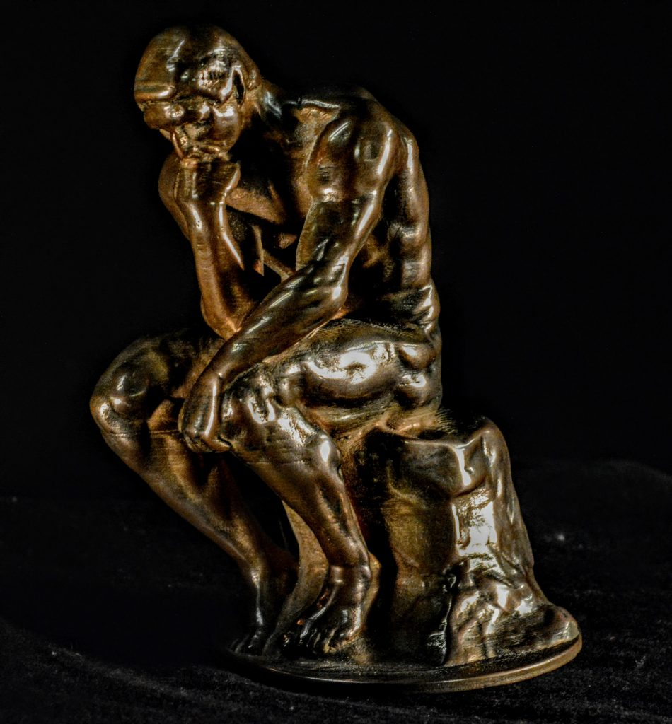 Rodin's The Thinker, 3D printed in Bronze Filamet. Photo via Virtual Foundry