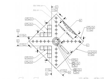 Engineering drawing of the NIST test artifact for 3D printing. Image via NIST