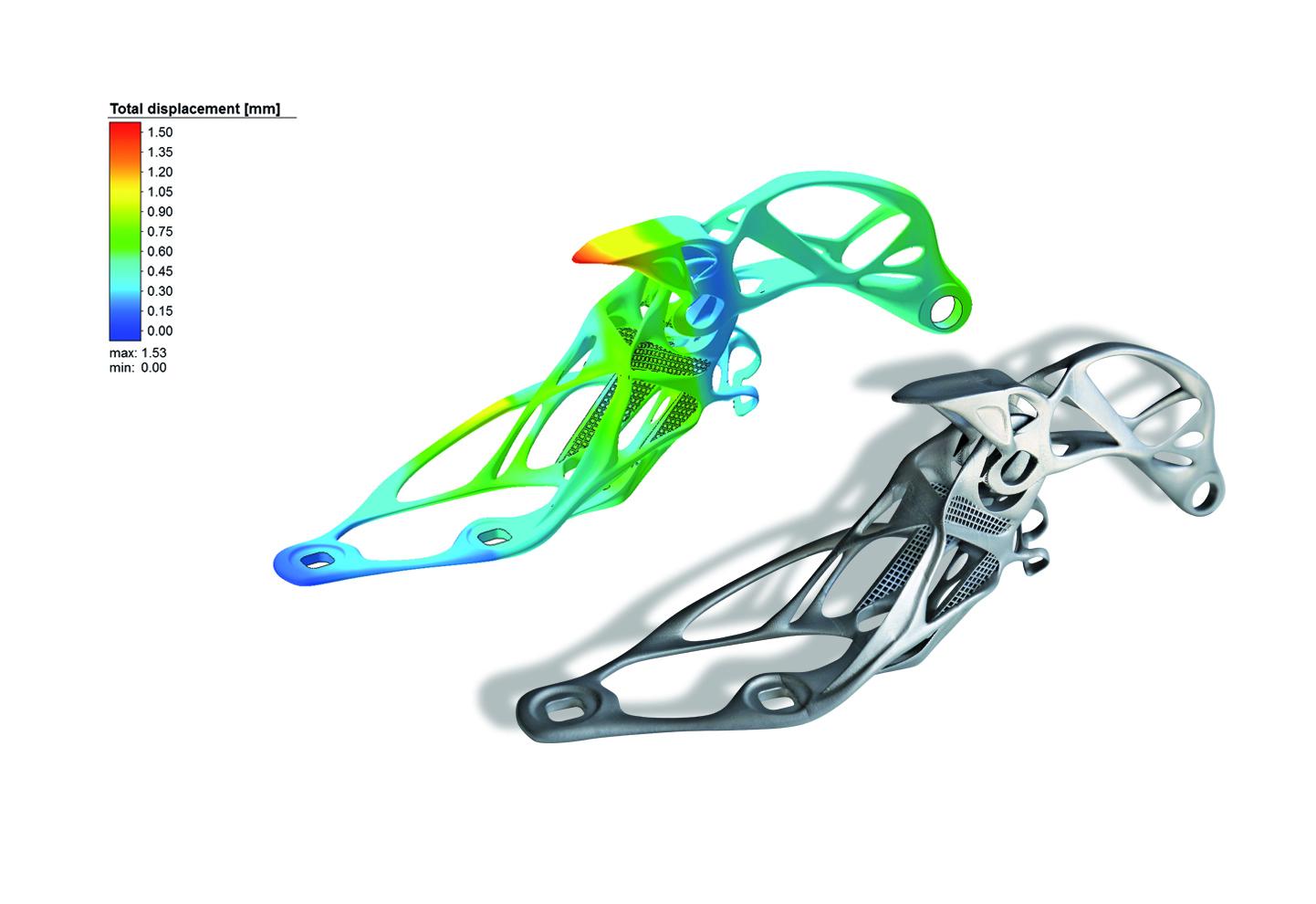 An automotive hood hinge next to its simulation. Image via MSC Software.