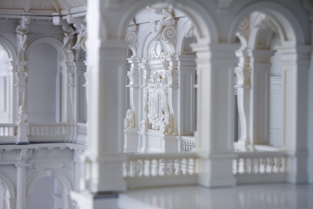 The model of Antwerp City hall features an impressive level of detail. Photo via Materialise.