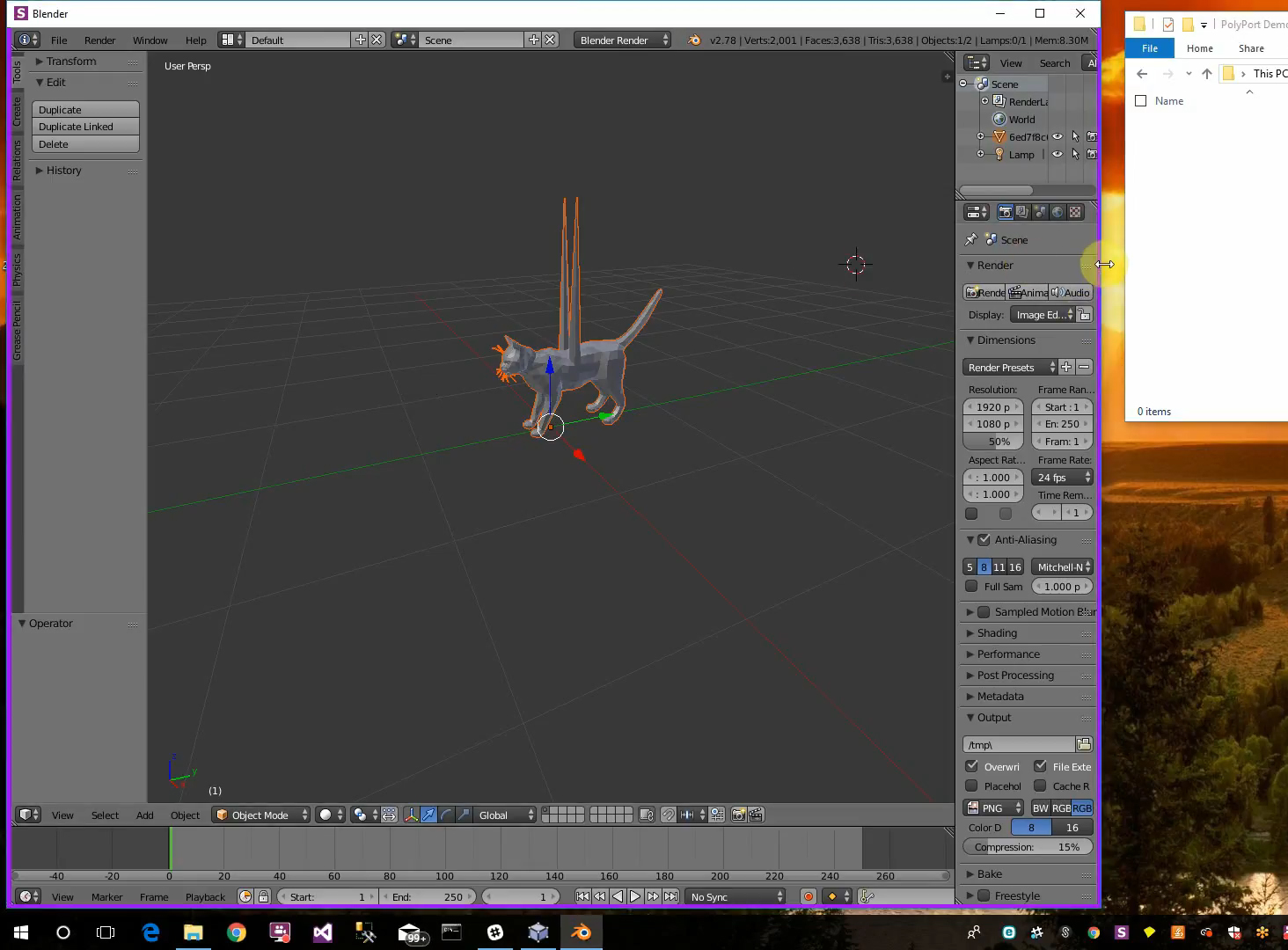 Viewing a model in Blender, the purple border means that Blender is running through PolyPort's encrypted sandbox. Image via PolyPort.