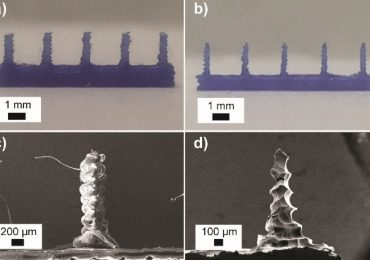 (a,c) 3D printed and (b, d) chemically etched microneedle arrays. Image via ChemRxiv