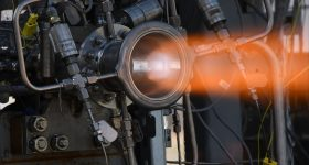 Hot-fire testing of a 3D printed nozzle at NASA's Marshall Space Flight Center. Photo by David Olive/NASA/MSFC