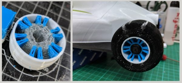 A car wheel multimaterial 3D printed using E3D's tool-changing plaftorm. Image via E3D-Online