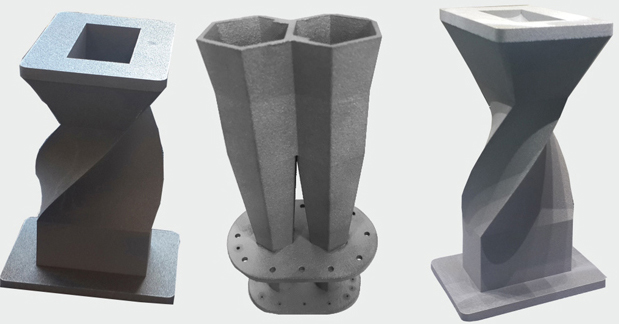 Sample metal 3D printed parts for aerospace. Photos via Wipro3D