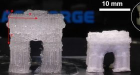 A model of the Arc de Triomphe 3D printed in Dartmouth's special hydrogel (right), and the same model after air drying (right). Image by Chenfeng Ke
