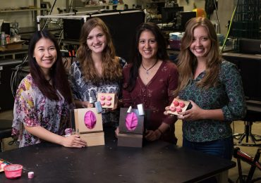From left: Christine Luk, Rachel Lambert, Sonia Parra and Elizabeth Stone of Rice University's Gyno-mite team at the Oshman Engineering Design Kitchen (OED). Photo via Rice University