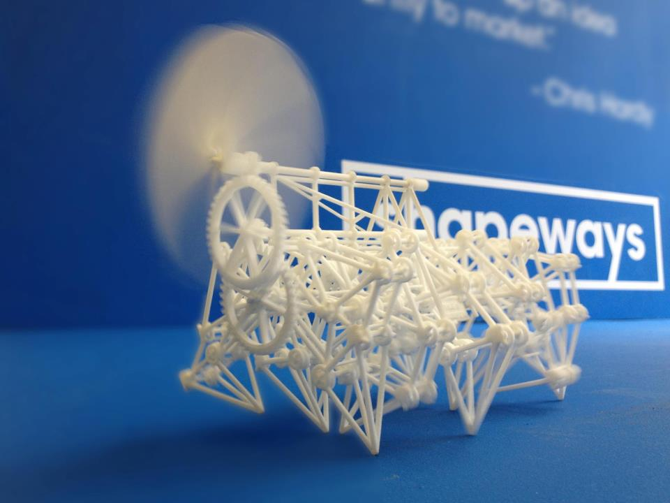 3D printed functional strandbeest model. Photo via Shapeways