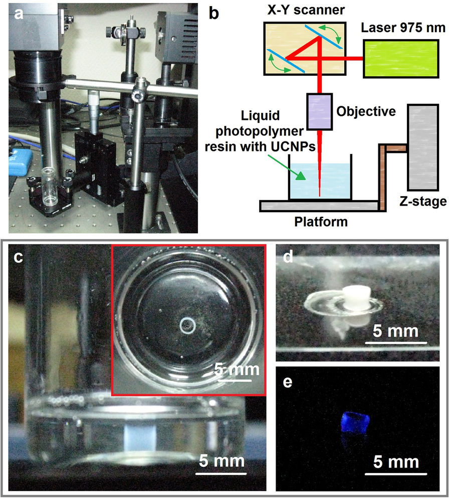 The RAS high-resolution photopolymerization set up and samples 3D printed using the technique. Image via Scientific Reports