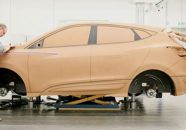 A full-size model of a car in clay. Photo via Hyundai.
