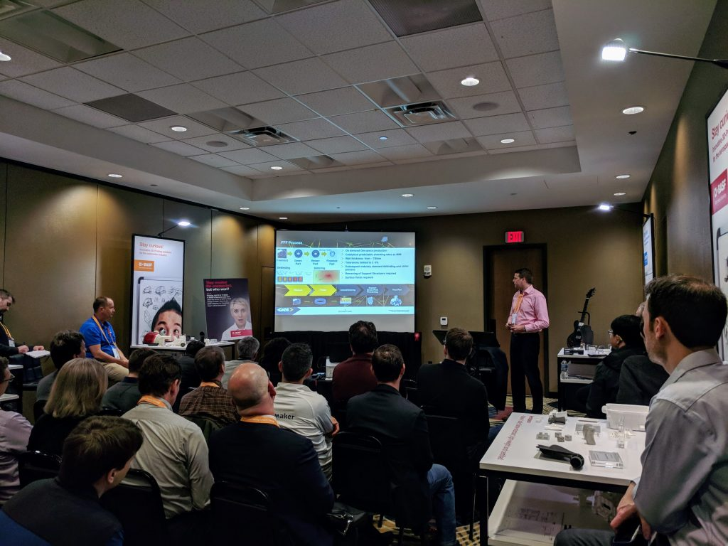 At AMUG 2018 Markus Josten of GKN Additive gave an introduction on scaling Ultrafuse Technology at existing manufacturing facilities. Photo by Michael Petch
