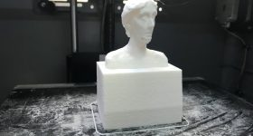 A 3D printed bust of 20th century writer credited with inspiring modern feminist critique. Photo by Beau Jackson