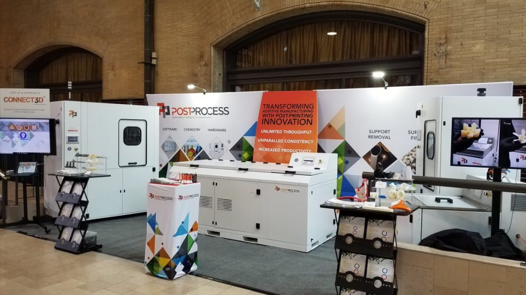 PostProcess Technologies booth at AMUG 2018. Photo via PostProcess