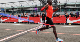 Eliud Kipchoge's attempt at running a marathon in less than two hours. Photo via The Drum.