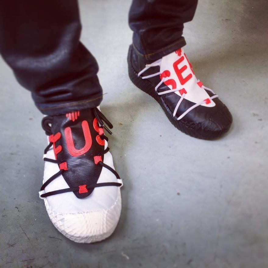 FUSED footwear, entirely 3D printed shoes. Photo via FUSED.