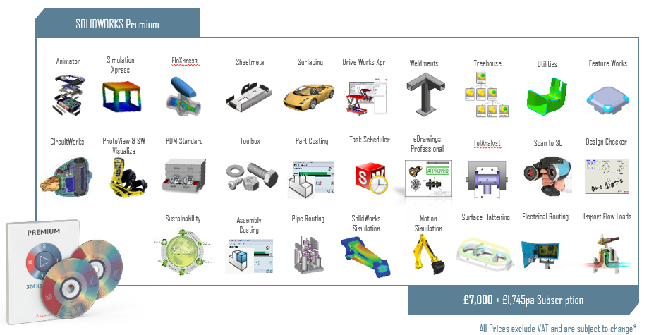 Full range of features available in SolidWorks Premium. Image via SolidWorks.