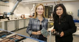 Gabrielle Upton (left), New South Wales' Minister for the Environment and Professor Veena Sahajwalla (right) at the launch of the e-waste microfactory. Photo via Quentin Jones.