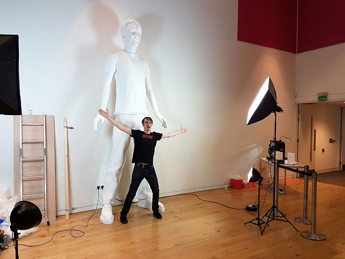 James Bruton with the 3.62m 3D printed sculpture of himself. Photo via Guinness World Records.