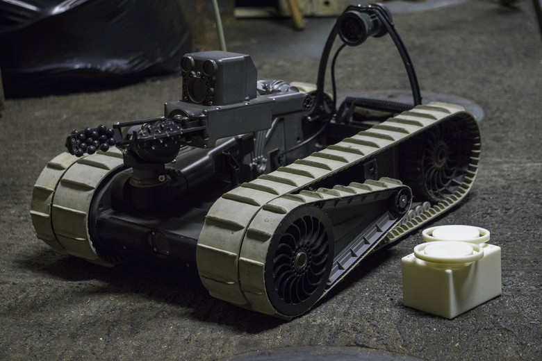 An iRobot 310 Small Unmanned Ground Vehicle, with 3D printed lens cap. Photo via U.S. Marine Corps by Cpl. Stormy Mendez.