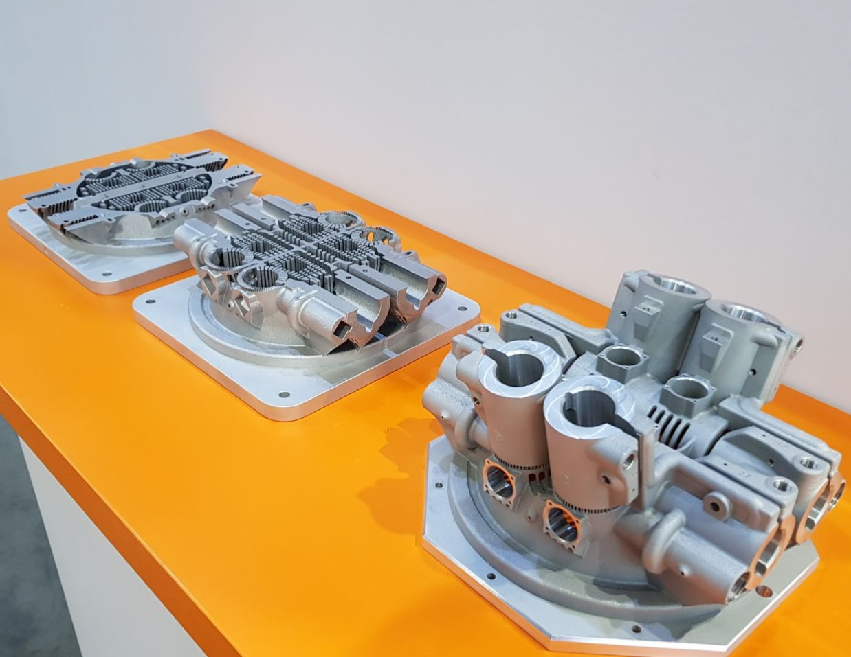 Metal additive manufactured components from the Renishaw RENAM 500Q. Photo by Michael Petch.
