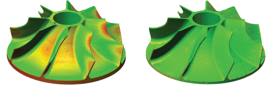 Red coloring in the impeller on the left indicates simulated areas of deformation in the part. Using the COMSOL app, MTC researchers are able to invert this process and create the design on the right. Image via the MTC