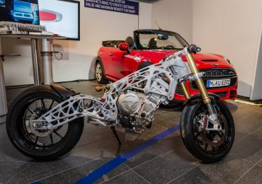 BMW's S1000RR 3D printed chassis. Photo via Visor Down