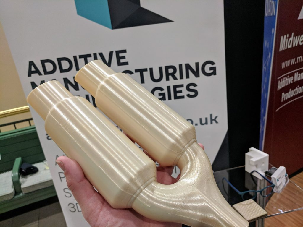 Post-processing from Sheffield's Additive Manufacturing Technologies at AMUG 2018. Photo by Michael Petch.