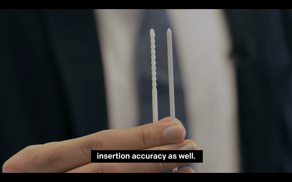 3D printed needle deigns. Screengrab via Temple University on YouTube