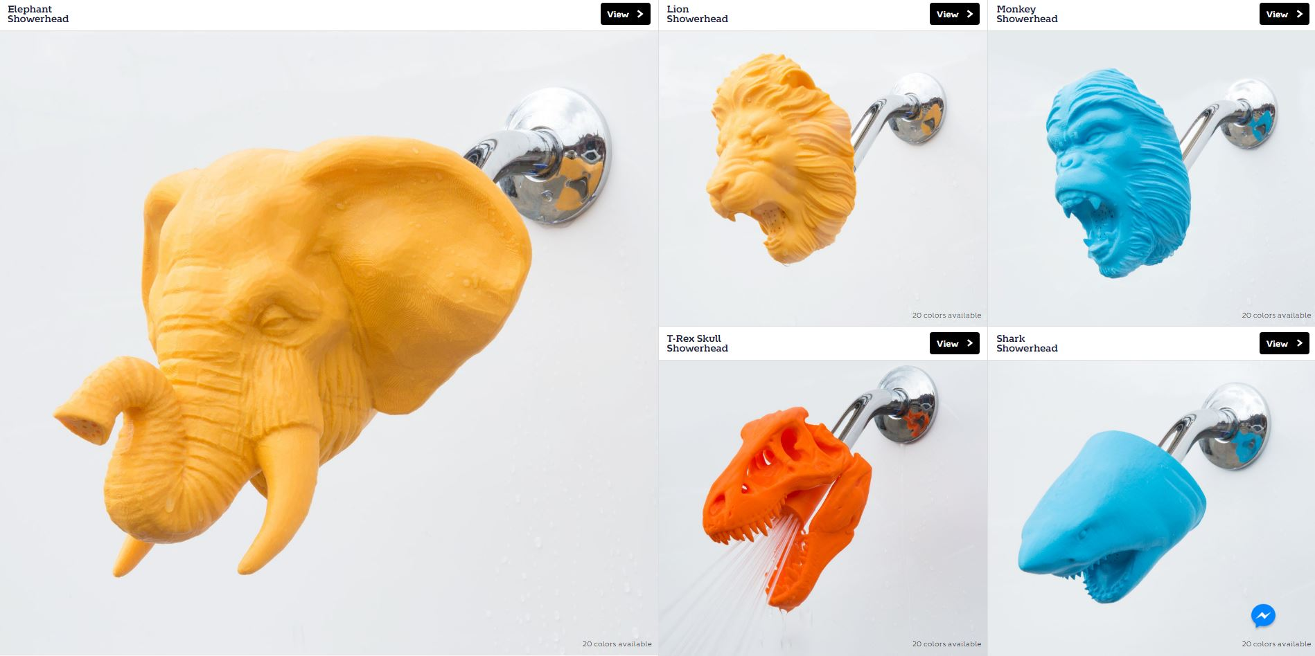 Selection of 3D printed shower-heads on the Zooheads store, powered by Voodoo. Photo via Zooheads.