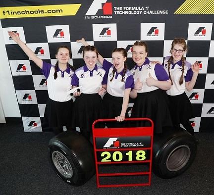 Students from Linlithgow Academy celebrate getting to the final of the 2018 F1 in Schools competition. Photo via F1 in Schools.