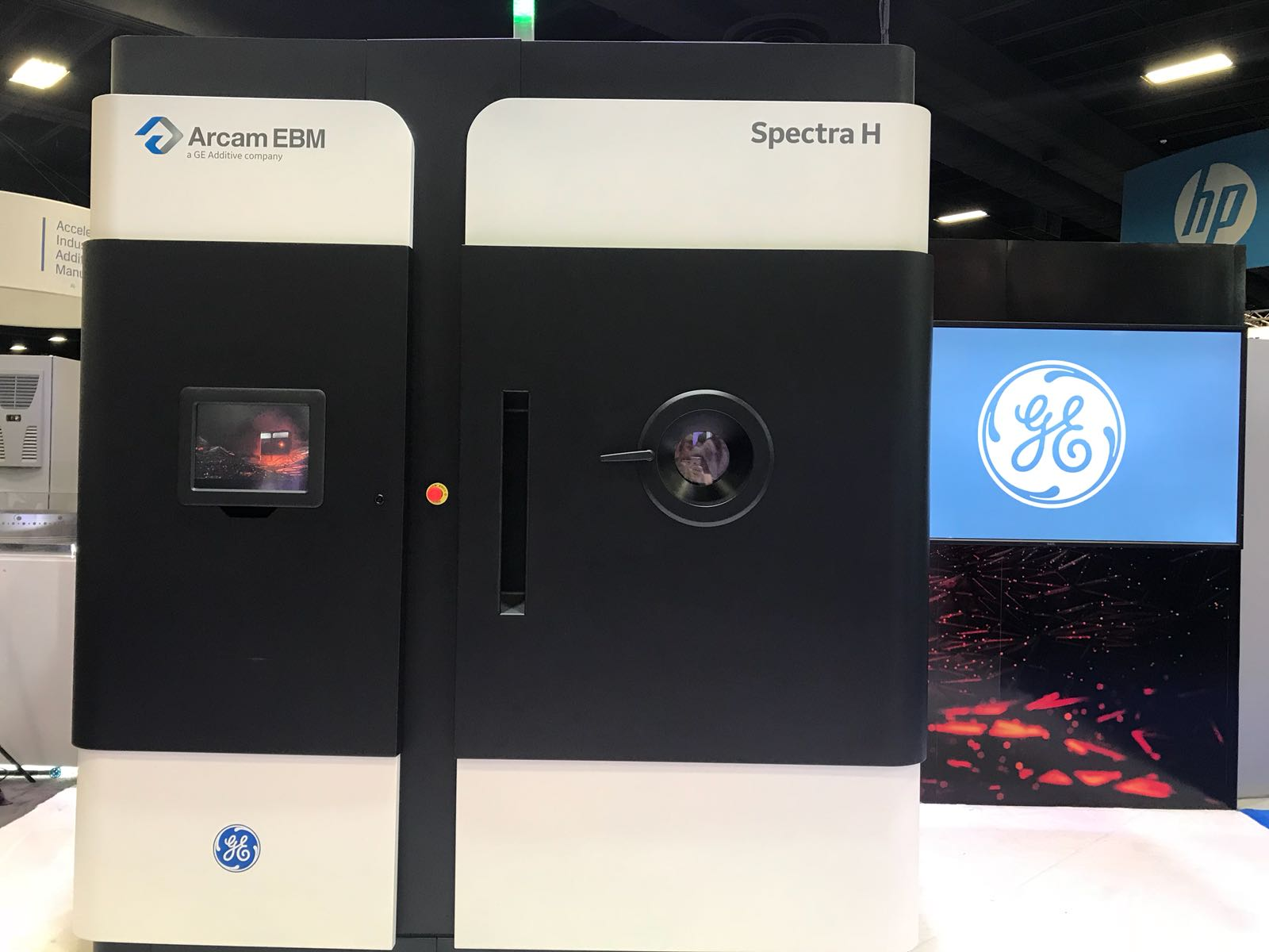 The GE Additive Arcam Spectra at RAPID. Photo by Beau Jackson.