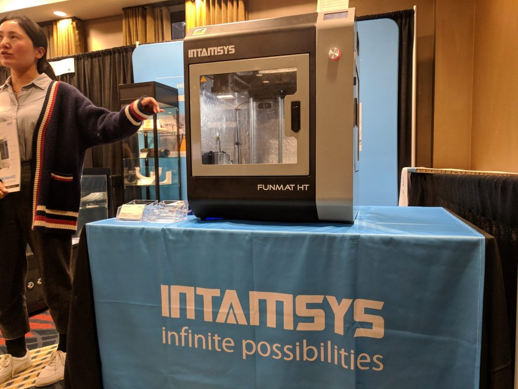 The INTAMSYS FUNMAT HT, an affordable 3D printer for PEEK. Photo by Michael Petch.