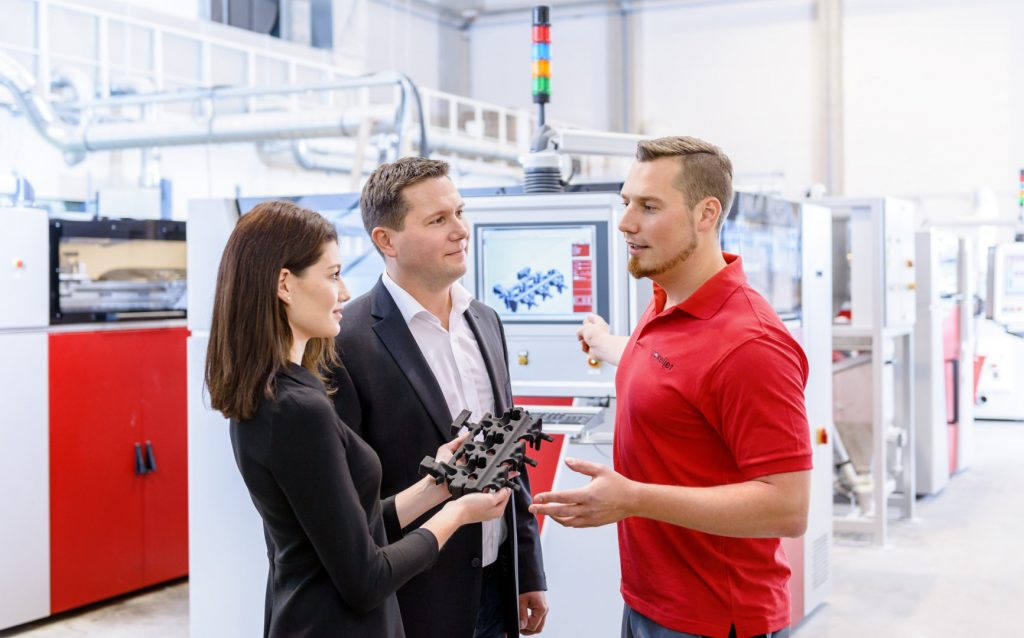 voxeljet customers and industrial additive manufacturing machines. Photo via voxeljet AG.