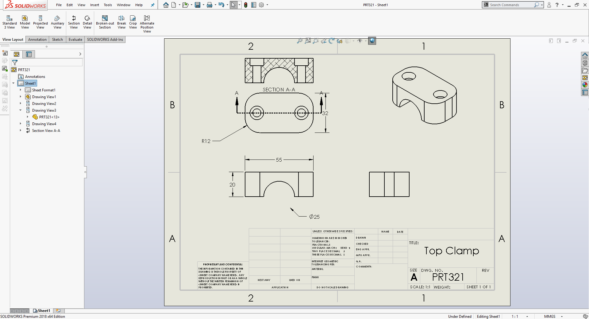 Creating 2D design drawings from 3D models created in SolidWorks. Image via SolidWorks