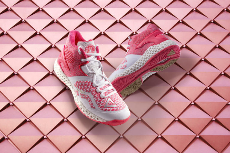 Peak 3D printed volleyball shoes. Photo via Peak Sport Products Co., Limited