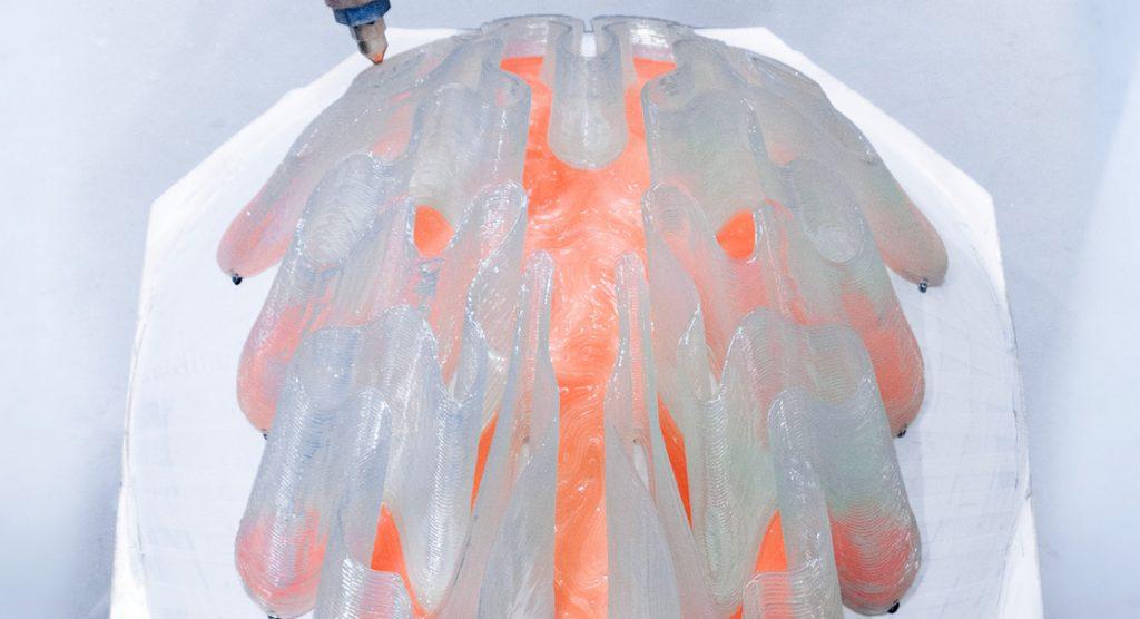 Robotic 3D printing atZaha Hadid Architects. Photo via Nagami