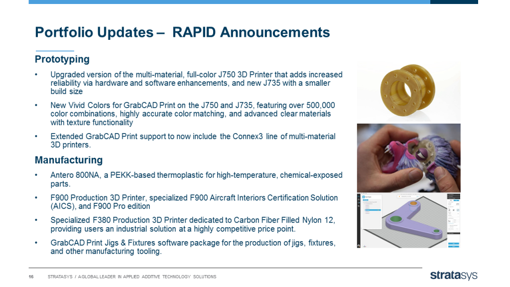 Key Stratasys announcements at RAPID. Image via Stratasys.