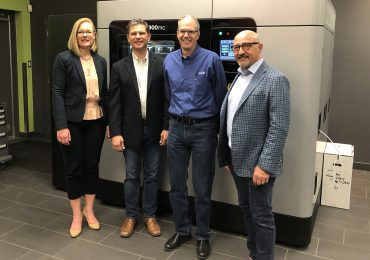 The leaders of Javelin Technologies and Cimetrix Solutions will join forces. Left to right: Kirsten Janeteas, John Carlan, Ted Lee, James Janeteas. Photo via Javelin Technologies.