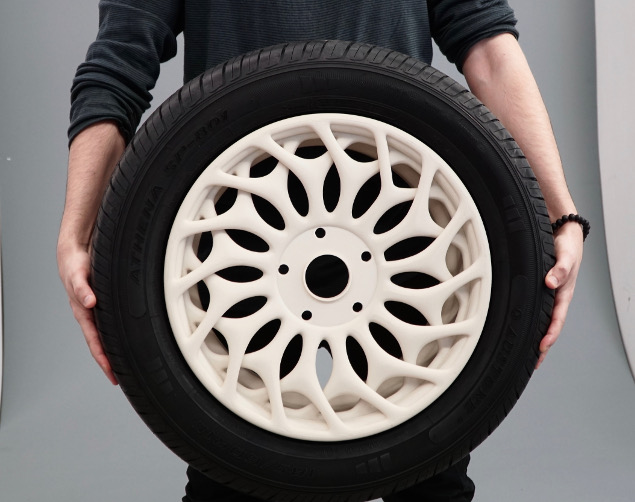 Marco Mattia Cristofori's 3D printed wheel rim. Photo via BigRep