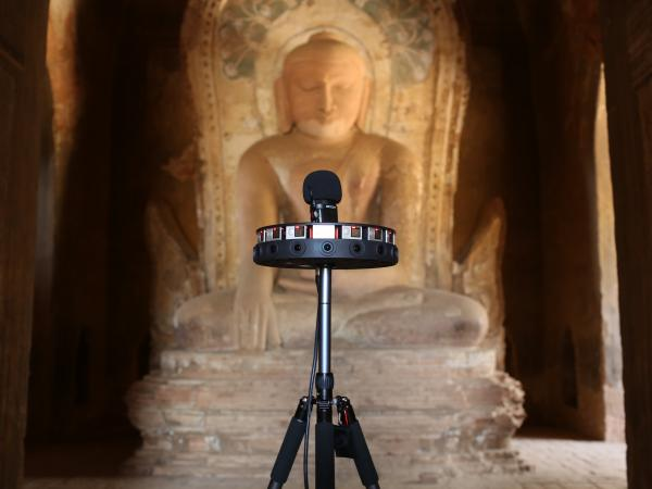 A 360-degree camera is used to document the Khe Min Ga Zedi temple in Bagan, Myanmar. Photo via Google Arts & Culture.
