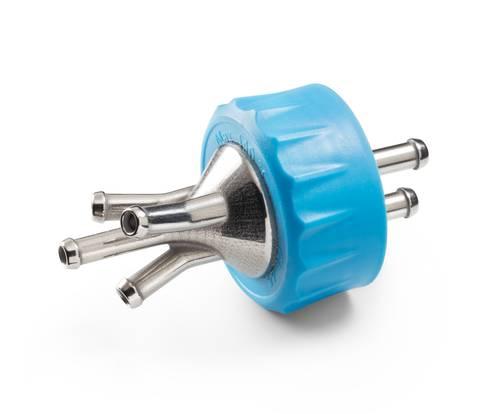 4-Port GL 45 bottle connector cap manufactured using metal 3D printing.